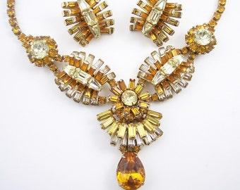 Vintage Amber Rhinestone Necklace Set