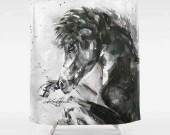 """Horse Shower Curtain,  Black Horse Painting Art, Original abstract Spiritual Horse """"Beauty"""" by Kathy Morton Stanion  EBSQ"""