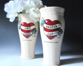 Retro Heart Tattoo Wedding Vase for the non-traditional bride and groom