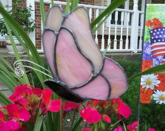 Pale Pink with Yellow Stained Glass Butterfly Garden Stake, Plant Stake, Garden Decoration, Tiffany Butterfly