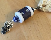 Customizable Stitch and Row Counter - Blue & White Ceramic Beads