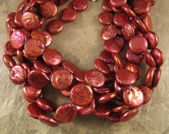 HOT SALE - Red Pearls, Freshwater Pearls, Deep Rose Round Coin Pearls, 14mm, 8 Inch Strand, 14 Pearls, Jewelry Supplies (P-C6)