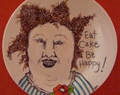 hand painted plate ,sandy mastroni , lady mom, cake art , redhead art,  original art white plate, stipple,whimsical illustration