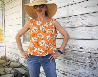 SALE Vintage 90s sleeveless blouse,floral,feminine,pretty,boho,summer,large,orange top,sophisticated,elegant