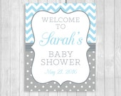 Custom Personalized 8x10 Printable Light Blue and Gray Baby Shower Welcome Sign with Chevron and Polka Dots - FEATURE'S MOM-to-be's NAME