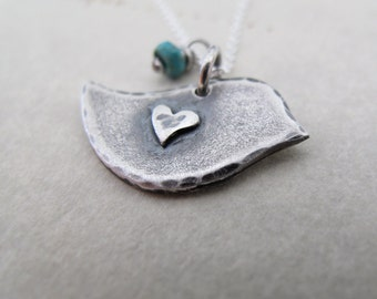 Little bird Necklace - sterling silver peace dove - holiday gift for her - rustic patina