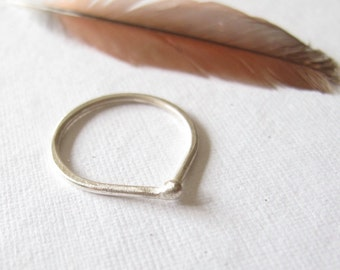 sterling silver stacking ring modern minimalist matte silver band
