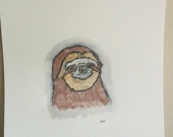 Sloth watercolor / drawing
