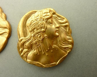 2 Vintage Face Stampings Art Nouveau Maiden with Headress - Antique Gold