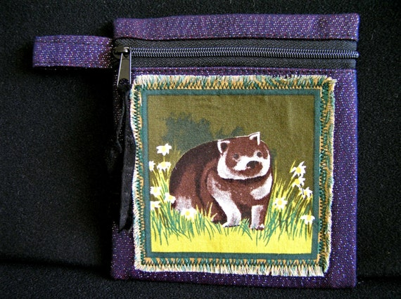 Australian Souvenir Wombat Zip Pouch Coin Purse Wallet Organizer