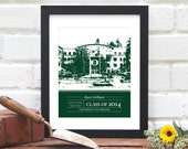 Graduation Gift - Gift for Grad - Personalized with your University or College - School Colors - Father's Day Alumni Gift - 8x10 Art Print