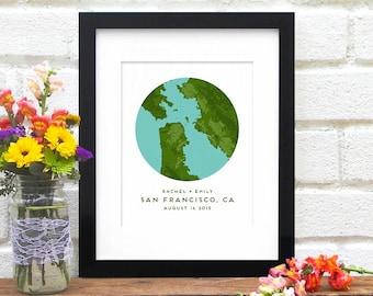 San Francisco Map, San Francisco Bay Map, Personalized San Francisco Map Gift, California Map Art, San Fran Art - Art Print