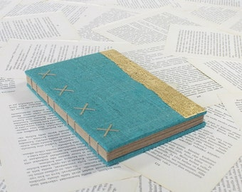 Large Turquoise and Gold Hardcover Journal with Recycled Pages