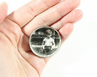 Mixed Media Brooch - Vintage Photo and Cut Up Text in a Vintage Tin