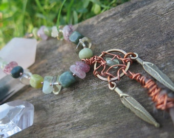 Earthy Mini Dreamcatcher Necklace - Gemstone - Boho Chic - Gypsy - Pink Green - Mixed Metals - Feather - Funky Bohemian Crystal Jewelry