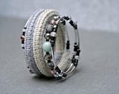 coil crochet bracelet in shades of grey