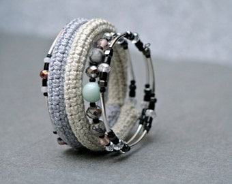 coil crochet bracelet in shades of grey