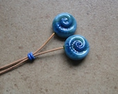 Lampwork Headpins - Glass Headpins - Blue Green Ammonite Glass Headpins - Copper wire - Glass Headpins Pair - SueBeads - Headpins