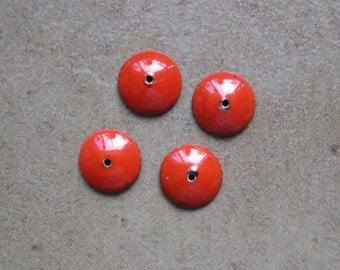 Enamel Bead Caps - Bead Caps - SueBeads - Red Round Bead Caps - Enameled Bead Caps