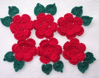 6 victory red crochet applique roses with green leaves --  2533