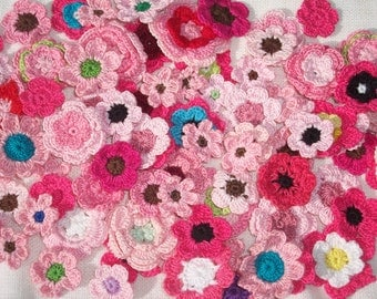 80+ handmade pink thread crochet applique flowers --  2397