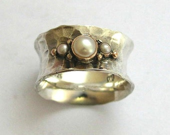 Pearl ring, Sterling silver band, twotones ring, Pearl band, gemstone ring, silver gold band, wide silver band - always yours R1019G