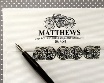 Vintage Motorcycle rubber Stamp, Vintage Motorcycle address stamp,Custom Return Address Stamp, Self inking stamp, Personalized Stamp,#16-80
