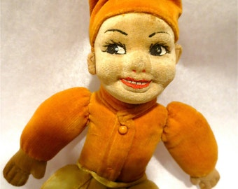 "Norah Wellings Felt Face Turkish Boy Doll - Vintage 1930s Smiling Lad  - 10 "" Tall  - Adorable Soft Plush Toy"