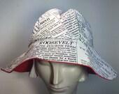 Newspaper Sun Hat- Reversible Red Beach Hat-Floppy fabric hat HANDMADE by Anne DePasquale