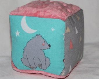 Aqua Woodland Camping Fabric Block Rattle Toy