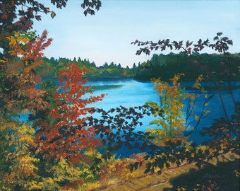 Floodwood Adirondacks Lake Mountains camp  Giclee Reproduction 11 x 14