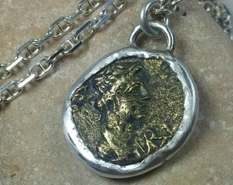 Roman coin Pendant,  sterling silver and ancient coin necklace, authentic coin, ancient coin jewelry