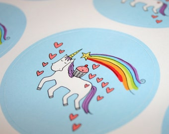 JUMBO sticker: cupcake riding unicorn