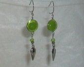 Bright Green Murano Round Glass Peruvian Style Earrings