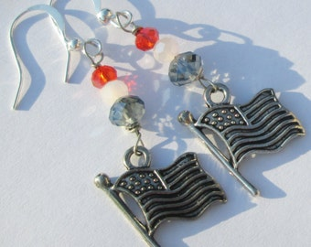 American Flags red white blue crystal beads wire wrapped charm pierced dangle earrings