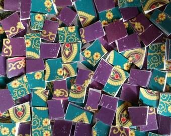 Mosaic Tiles-Jasmine Delight- Eggplant Purple 100  tiles