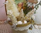 Happy Holidays, Paper Mache Pot filled with Vintage Santa Graphic and lots of Christmas Trims, Home Holiday Accent Display, ECS