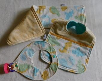 Baby Layette set/dinosaurs/boy themed; Baby Layette set 1 burpcloth/bib/binky holder; baby gift set; baby shower gift