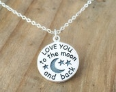Love you to the moon and back necklace - Sterling silver charm necklace - Moon and stars - Gift for Daughter - Birthday Present