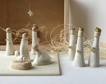 Nativity Set in Wood and Ceramic Limited Edition  by Paloma's Nest