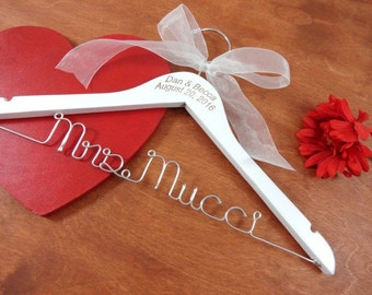 Engraved Name Hanger - Personalized Hangers - Bride Coat Hangers - Engraved Hangers - Will You Be My - Custom Name Hanger - Mrs Hanger