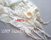 40% off - JANUARY SALE White  Nuno Felted Scarf with Flower Winter Scarf Eco Fashion