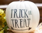 Trick or treat arrow decal, pumpkin stickers, Halloween fall pumpkin decor, Arrow pumpkin sticker for front porch decor
