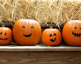 10 pumpkin faces Happy Halloween Pumpkin Stickers, happy faces pumpkin decals, pumpkin face stickers, jack o lantern decals