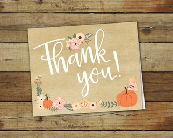 Printable pumpkin thank you notes - coral and pink - custom card to matching pumpkin birthday party invitation