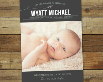 Paper airplane birth announcement, baby photo card, custom baby announcement, personalized thank you, baby boy birth announcement
