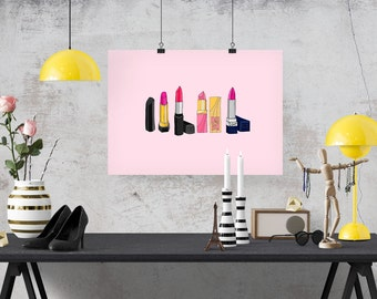 4 Classic Pink Lipsticks Fashion Illustration Art Poster