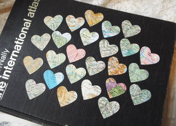 Vintage Road Atlas Hearts set of 25, for wedding table decor, scrapbooking, tags, party favors, collage, altered arts