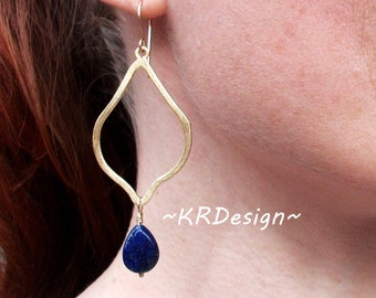 Gold-Lapis-Dangle-Teardrop-Earrings / Free US Shipping