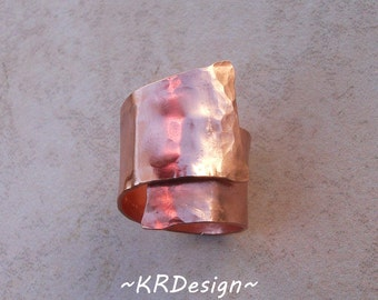 Copper-Ring-Hancrafted-Hammered-Adjustable-Customized  / Free US Shipping